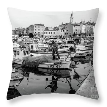 Rovinj Fisherman Working In Old Town Harbor - Rovinj, Istria, Croatia Throw Pillow
