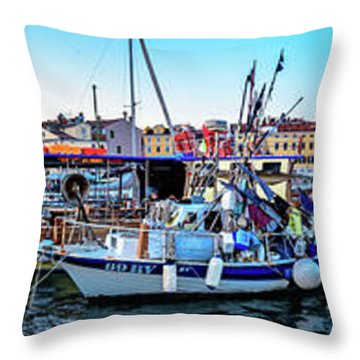 Rovinj Harbor And Boats Panorama Throw Pillow