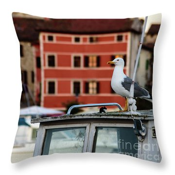 Rovinj Harbor Seagull - Rovinj, Istria, Croatia Throw Pillow