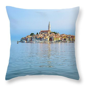 Rovinj In The Early Morning Fog, Istria, Croatia Throw Pillow