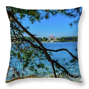 Rovinj Old Town Accross The Adriatic Through The Trees Throw Pillow
