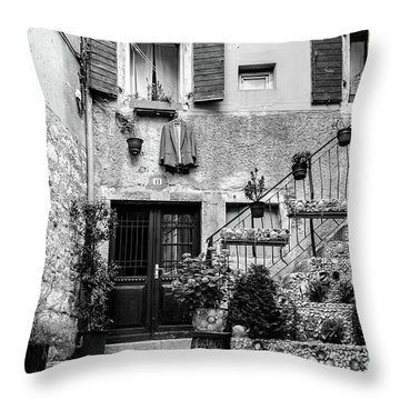 Rovinj Old Town Courtyard In Black And White, Rovinj Croatia Throw Pillow