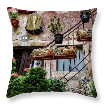 Rovinj Old Town Courtyard, Rovinj Croatia Throw Pillow