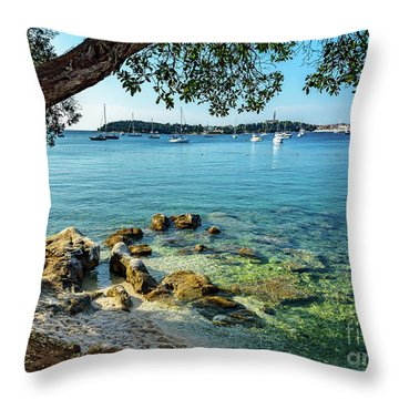 Rovinj Old Town, Harbor And Sailboats Accross The Adriatic Through The Trees Throw Pillow