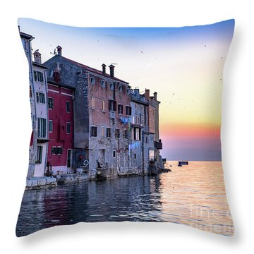 Rovinj Old Town On The Adriatic At Sunset Throw Pillow