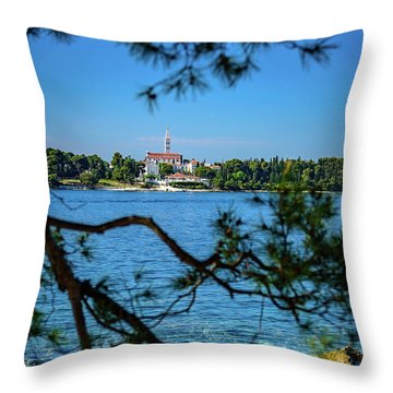 Rovinj Seaside Through The Adriatic Trees, Istria, Croatia Throw Pillow