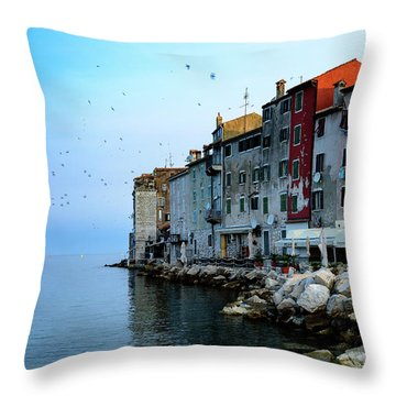 Rovinj Venetian Buildings And Adriatic Sea, Istria, Croatia Throw Pillow