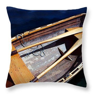 Throw Pillow featuring the photograph Row Boat Red Rillow by Susan Parish