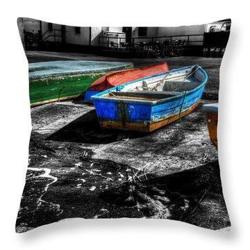 Row Boats At Mudeford Throw Pillow