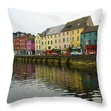 Row Homes On The River Lee, Cork, Ireland Throw Pillow