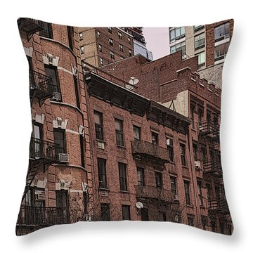 Row Of Buildings In Nyc Throw Pillow