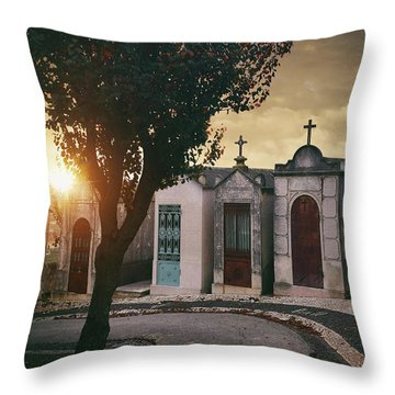 Throw Pillow featuring the photograph Row Of Crypts by Carlos Caetano