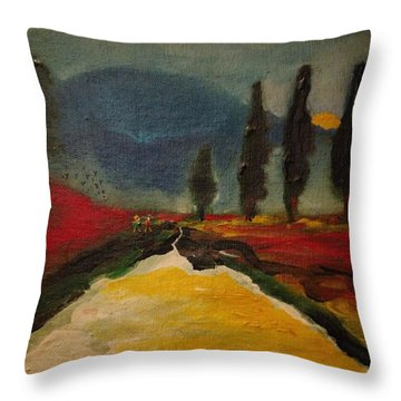 Row Of Cypress Throw Pillow