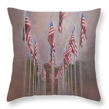 Row Of Flags Throw Pillow