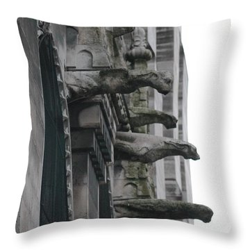 Throw Pillow featuring the photograph Row Of Gargoyles by Christopher Kirby