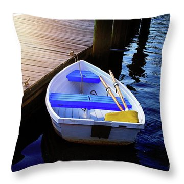 Rowboat At Sunset Throw Pillow by Inspirational Photo Creations Audrey Woods