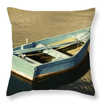 Rowboat At Twilight Throw Pillow by Mary Machare