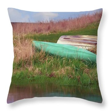 Throw Pillow featuring the photograph Rowboat - Canoe by Nikolyn McDonald