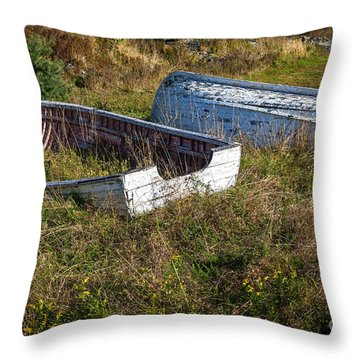 Rowboats In Brigus Throw Pillow by Verena Matthew