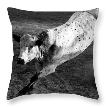 Rowdy Bucking Bull Throw Pillow