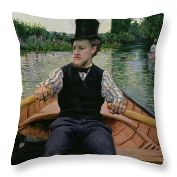 Rower In A Top Hat Throw Pillow by Gustave Caillebotte