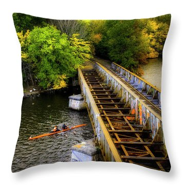 Throw Pillow featuring the photograph Rowers Under The Boston University Bridge by Joann Vitali