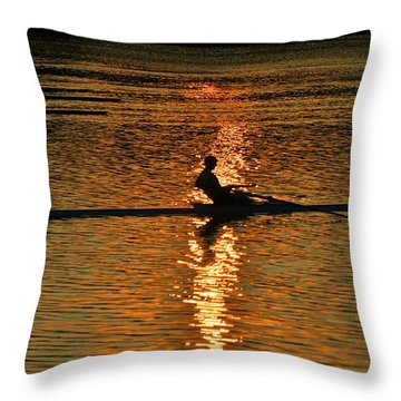 Rowing At Sunset 3 Throw Pillow by Bill Cannon