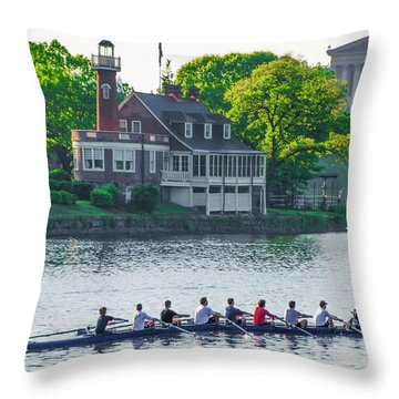 Throw Pillow featuring the photograph Rowing Crew In Philadelphia In The Spring by Bill Cannon