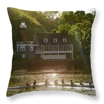 Throw Pillow featuring the photograph Rowing In Front Of Segley Club by Bill Cannon