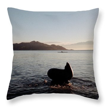 Rowing Off Sausalito, Ca Throw Pillow