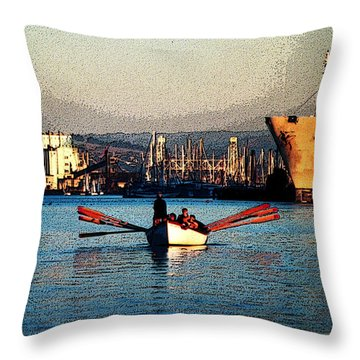 Rowing On The Estuary Throw Pillow