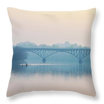 Throw Pillow featuring the photograph Rowing On The Schuykill In The Springtime by Bill Cannon
