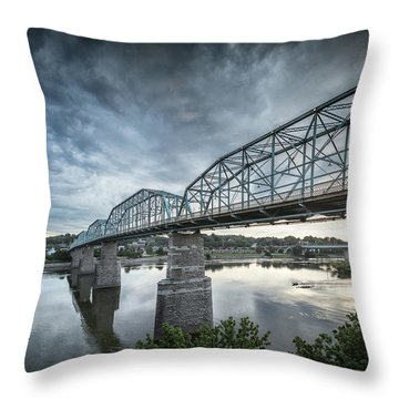 Rowing Under Walnut Street Throw Pillow