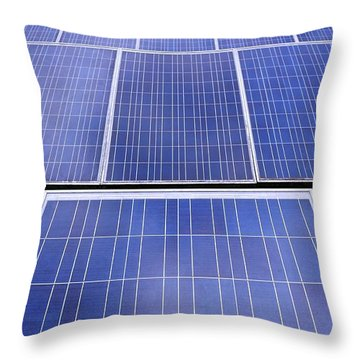 Throw Pillow featuring the photograph Rows Of Solar Panels by Yali Shi