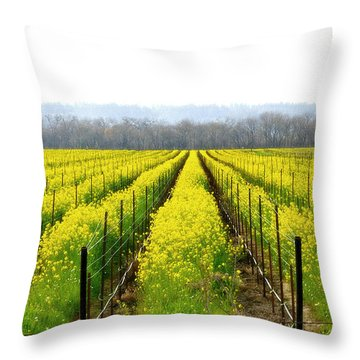 Rows Of Wild Mustard Throw Pillow by Tom Reynen