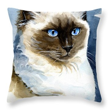 Roxy - Ragdoll Cat Portrait Throw Pillow