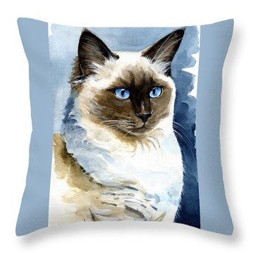 Roxy - Ragdoll Cat Portrait Throw Pillow
