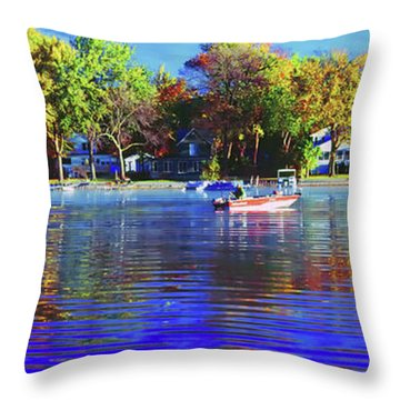 Throw Pillow featuring the photograph Roy And Boat Fall Fishing by Tom Jelen