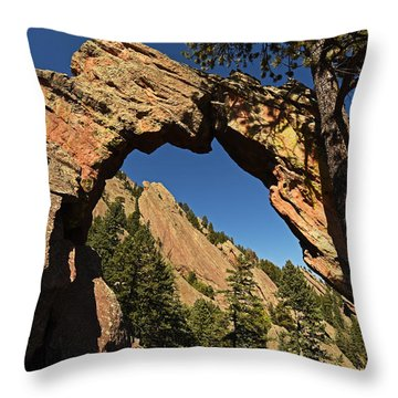 Royal Arch Trail Arch Boulder Colorado Throw Pillow
