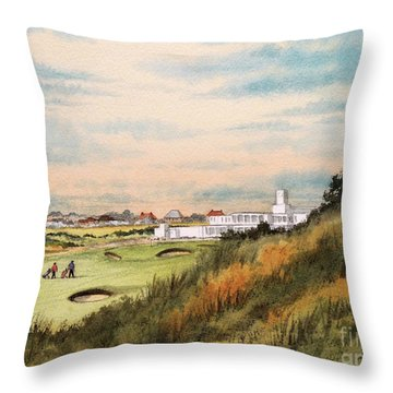 Royal Birkdale Golf Course 18th Hole Throw Pillow by Bill Holkham