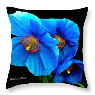 Royal Blue Poppies Throw Pillow