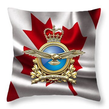 Royal Canadian Air Force Badge Over Waving Flag Throw Pillow