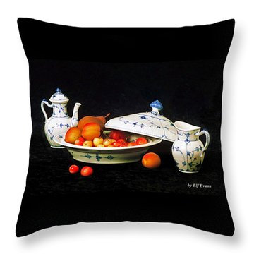 Royal Copenhagen And Fruits Throw Pillow by Elf Evans