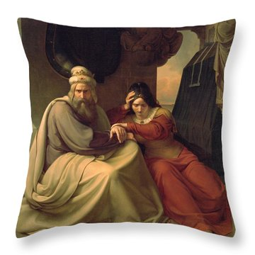 Royal Couple Mourning For Their Dead Daughter Throw Pillow by Carl Friedrich Lessing