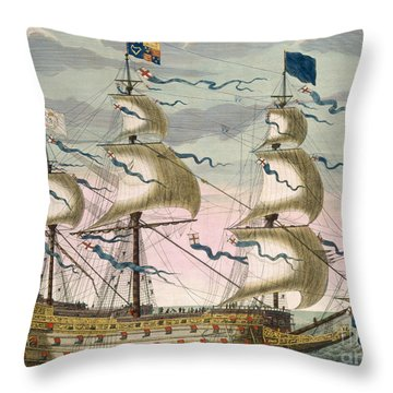Royal Flagship Of The English Fleet Throw Pillow