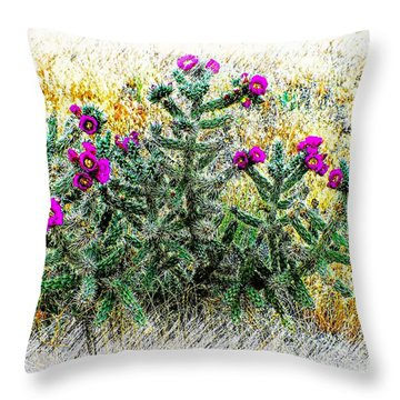 Royal Gorge Cactus With Flowers Throw Pillow