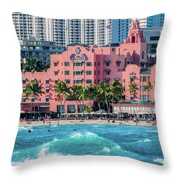 Royal Hawaiian Hotel Surfs Up Throw Pillow