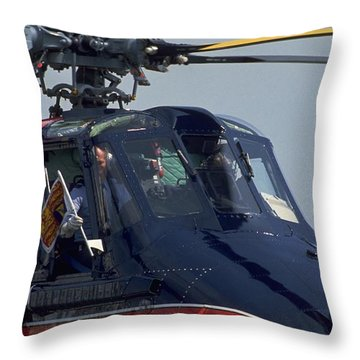 Throw Pillow featuring the photograph Royal Helicopter by Travel Pics