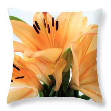 Throw Pillow featuring the photograph Royal Lilies Full Open - Close-up by Ray Shrewsberry