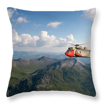 Throw Pillow featuring the digital art Royal Navy Sar Sea King by Pat Speirs